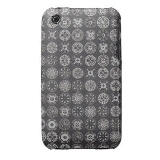 retro circles black iPhone 3 covers