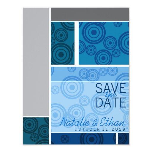 Retro Circles Blocks Blue Save The Date Invite