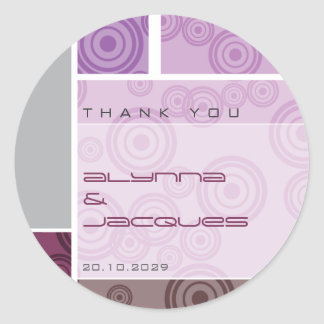 Retro Circles Blocks Purple Gift Label Sticker