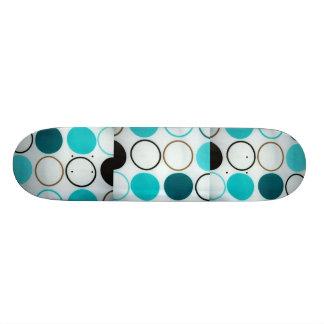 Retro Circles Blue And White Skate Board Deck