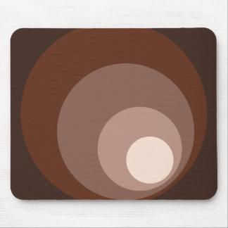 Retro Circles Brown Rust Taupe Cream Mouse Pad