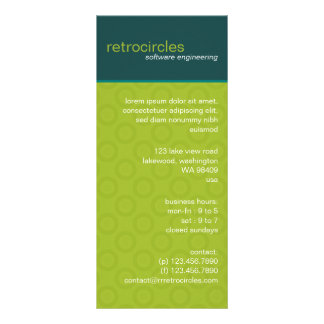 Retro Circles Green & Teal Business Rack Card