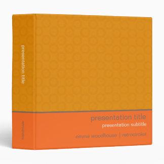 Retro Circles Orange & Tan Presentation Binder