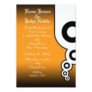 Retro Circles (Orange) Wedding Invitation