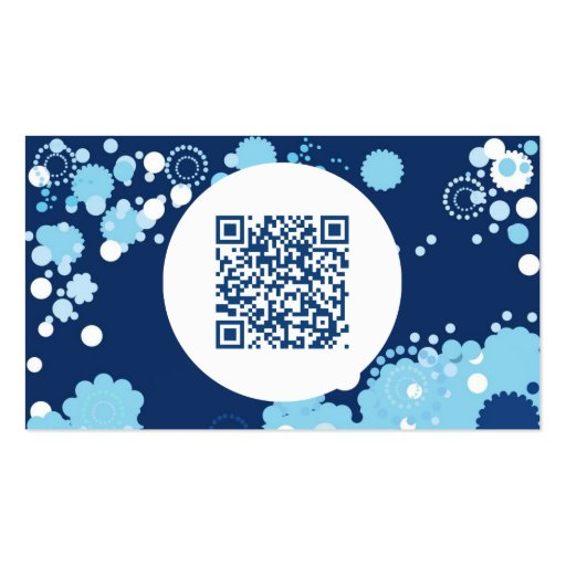 retro circles QR code Business Card Template