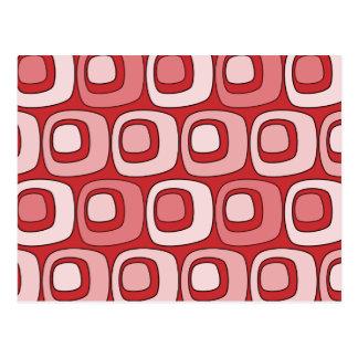 Retro Circles (reds) Postcard