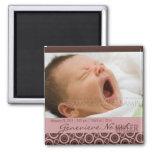 Retro Circles Rosy Brown • Baby Announcement Fridge Magnet
