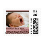 Retro Circles Rosy Brown • Baby Announcement Postage Stamps