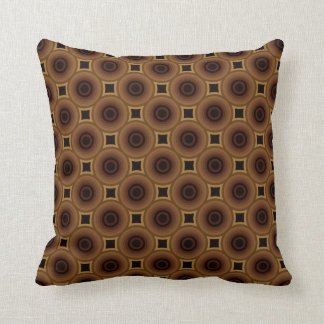 Retro Circles Squares Elegrant Brown Black Stylish Pillows