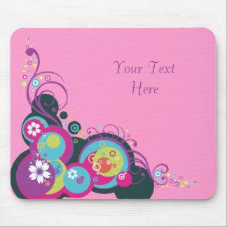 Retro Circles, Swirls & Flowers Mousepad