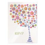 Retro Circles Tree Wedding RSVP Cards Business Card