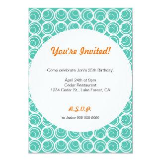 Retro Circles Turquoise Invitation