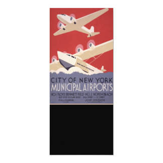 Retro City of New York Airports WPA Poster 4x9.25 Paper Invitation Card