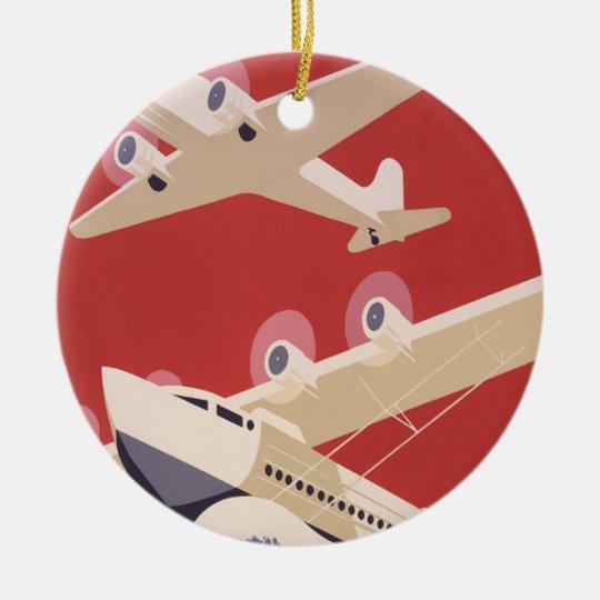 Retro City of New York Airports WPA Poster Ceramic Ornament