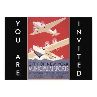 Retro City of New York Airports WPA Poster Custom Announcements