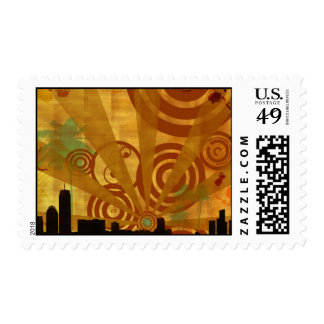 retro cityscape postage stamp