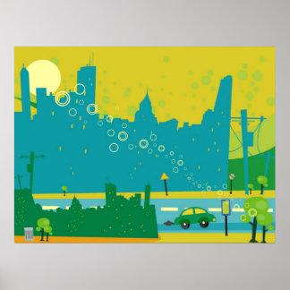 Retro Cityscape Poster