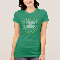 Retro Clarke Irish Family Drinking Team T-shirt at Zazzle
