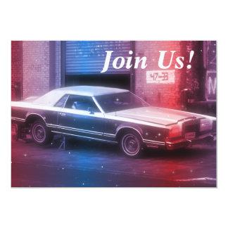 Retro Classic 70's Car Retirement Birthday Party Announcements