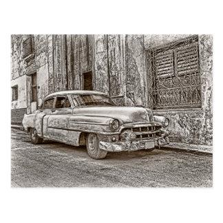Retro classic car postcard