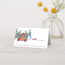Retro Classic Christmas Red Truck & Snowman Place Card