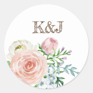 Retro classic floral watercolor classic design classic round sticker
