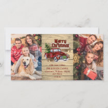 Retro Classic Red Christmas Truck Rustic Greeting Holiday Card