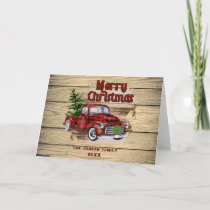 Retro Classic Rustic Christmas Red Truck Holiday Card