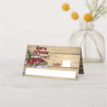 Retro Classic Rustic Merry Christmas Red Truck Place Card