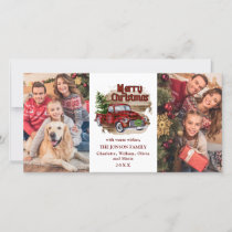 Retro Classic Rustic  Red Christmas Truck Greeting Holiday Card