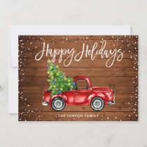 Retro Classic Rustic Red Truck Christmas Greeting Holiday Card