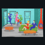 "Retro Classic Television Placemat<br><div class=""desc"">This Retro Classic Television Cloth Placemat takes you back to a simpler time. The 1960&#39;s style, minimalist, cartoon drawing will have you looking for the opening credits. The design shows a mid century modern, sunken, living room with teal and turquoise walls and a red, cone shaped fireplace, complete with a...</div>"