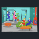 """Retro Classic Television Placemat<br><div class=""""desc"""">This Retro Classic Television Cloth Placemat takes you back to a simpler time. The 1960&#39;s style, minimalist, cartoon drawing will have you looking for the opening credits. The design shows a mid century modern, sunken, living room with teal and turquoise walls and a red, cone shaped fireplace, complete with a...</div>"""