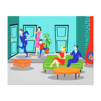 Retro Classic Television Stretched Canvas Print