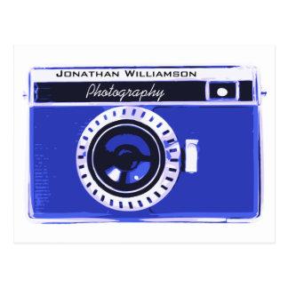 Retro Clean Blue Camera Photography Business Postcard
