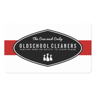 Retro Cleaning Business Red and White Business Card