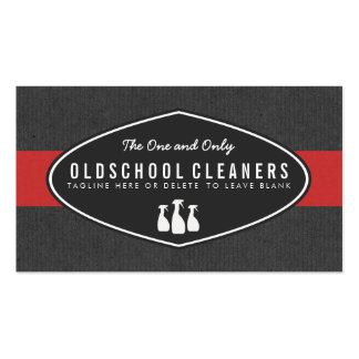 Retro Cleaning Service Gray and Red Business Card