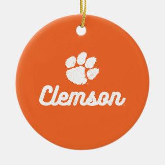 Retro Clemson Script Ceramic Ornament