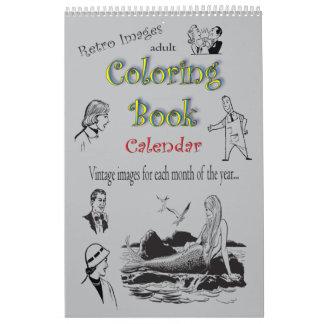 Retro Clip Art Adult Coloring Book Calendar