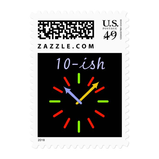 "Retro Clock Face ""10-ish"" 10:08 Time Party Stamps"
