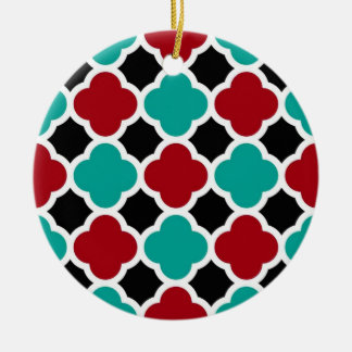 Retro Cloud Shaped Red Teal Pattern Ornament