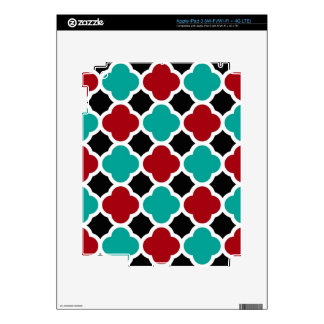Retro Cloud Shaped Red Teal Pattern Skin For iPad 3