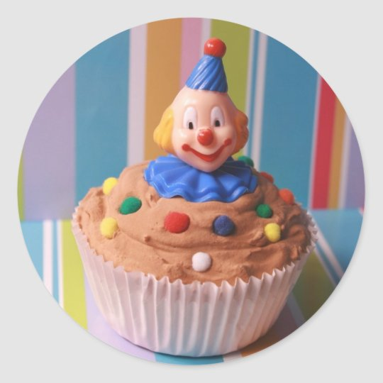 Retro Clown Cupcake Classic Round Sticker