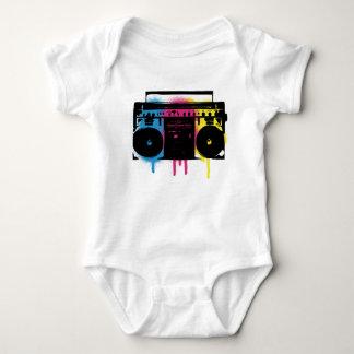 Retro CMYK Boombox Grafitti Spray Paint Design Baby Bodysuit
