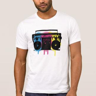 Retro CMYK Boombox Grafitti Spray Paint Design T-Shirt