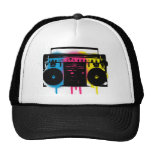 Retro CMYK Boombox Grafitti Spray Paint Design Trucker Hat