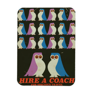 Retro Coach travel owl poster Rectangular Photo Magnet