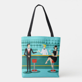 Retro Cocktail Lounge All-Over Print Tote Bag