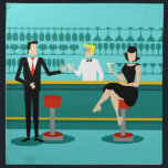 """Retro Cocktail Lounge Cloth Napkins<br><div class=""""desc"""">Every hour is happy hour with these Retro Cocktail Lounge Cloth Napkins. The mid century modern design features a vibrant, 1960&#39;s style, minimalist, cartoon drawing of a classy, cocktail bar. Against the backdrop of an aqua wall, we can see rows of drink glasses. At least we can see the teal...</div>"""
