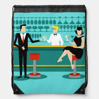 Retro Cocktail Lounge Drawstring Backpack